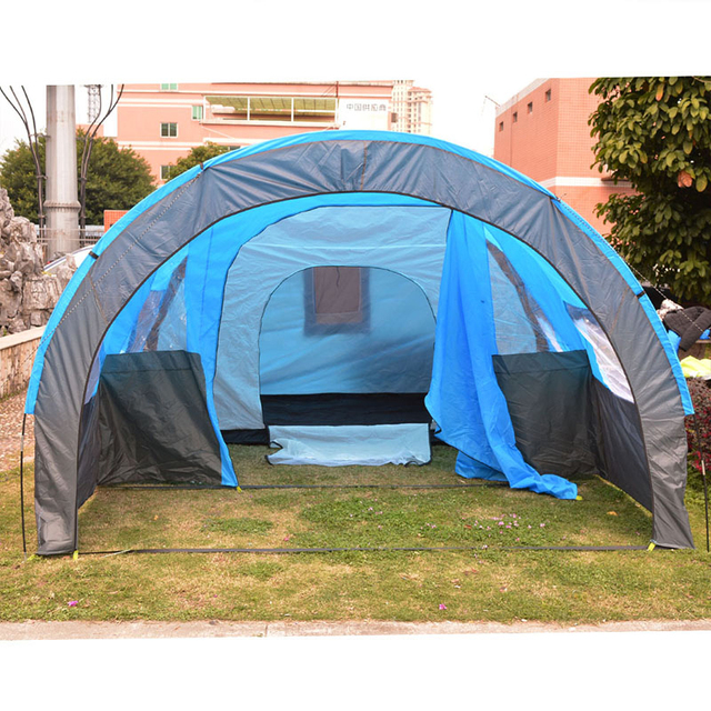 1x 480*310*210cm Big Doule Layer Tunnel Tent 5-10 Person Outdoor Camping Family Party Hiking Hunting Fishing Tourist Tent House