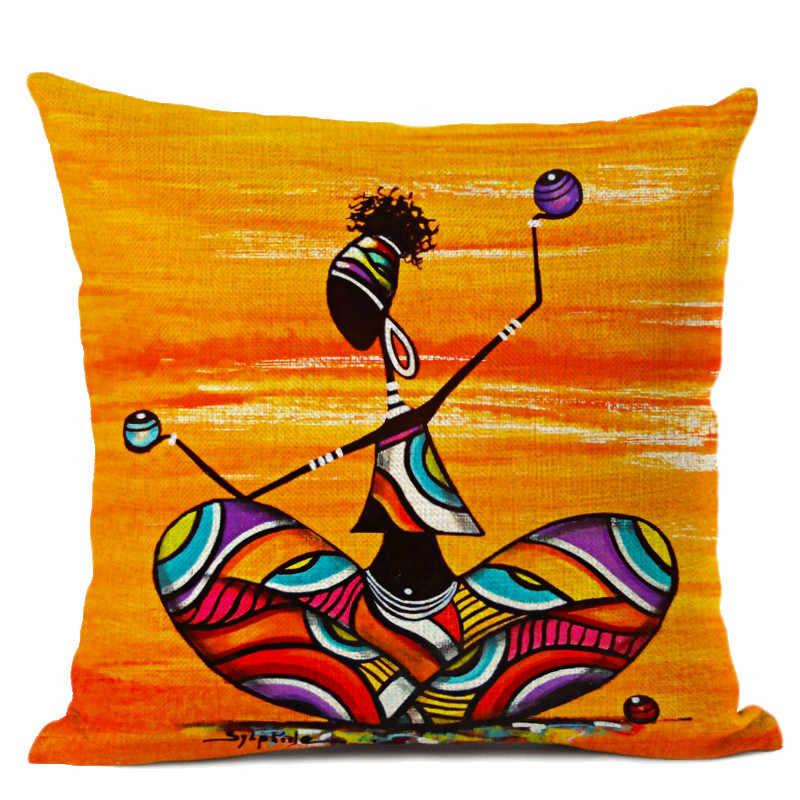 Оранжевый абстрактный Рисунок, коллекция жизни в Африке, Африканская женщина, домашний декор, чехол для подушки, галерея, экзотический ресторан, чехол для подушки