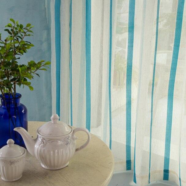 Blauw witte verticale streep gordijn voor woonkamer en slaapkamer ...