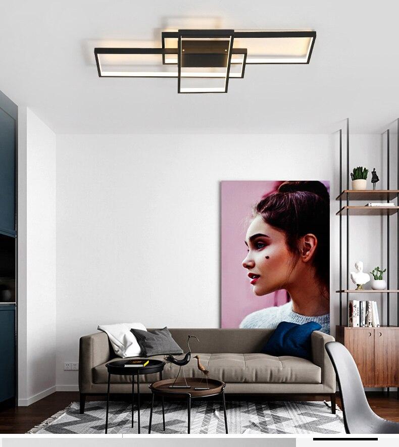 HTB1j6PhaOfrK1RjSspbq6A4pFXaj NEO Gleam Rectangle Aluminum Modern Led ceiling lights for living room bedroom AC85-265V White/Black Ceiling Lamp Fixtures