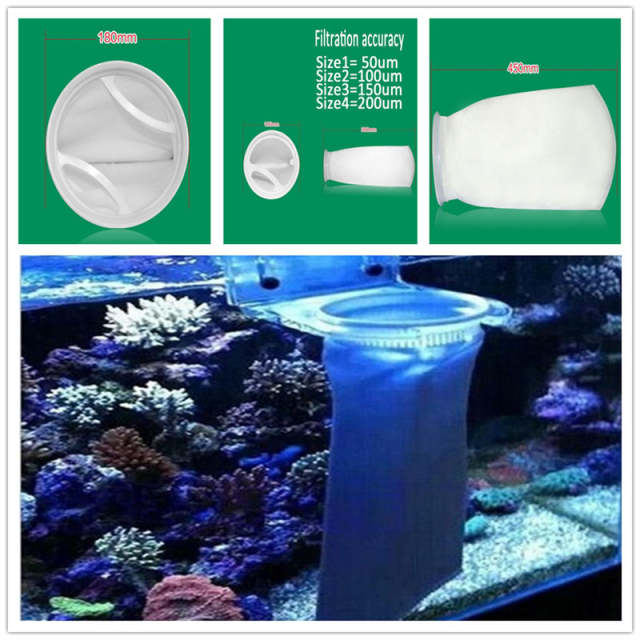 1Pc 45cm Aquarium Fish Tank PP Filter Mesh Bag Light Weight Net Sump Felt  Micron Replacement White Aquarium Filters Accessories