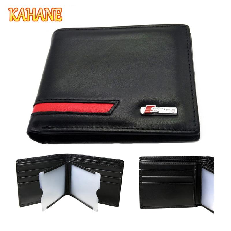 KAHANE Genuine Leather Men Wallet Car Driver License Holder Bag Men Money Wallet For Audi A3 A4 A5 A6 B4 B5 B6 S3 S4 S5 S6 S7 S8