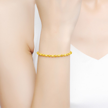 JLZB 24K Pure Gold Bracelet Real 999 Solid Gold Bangle Smart Fashion Frosted Bead Trendy Classic Fine Jewelry Hot Sell New 2020 5