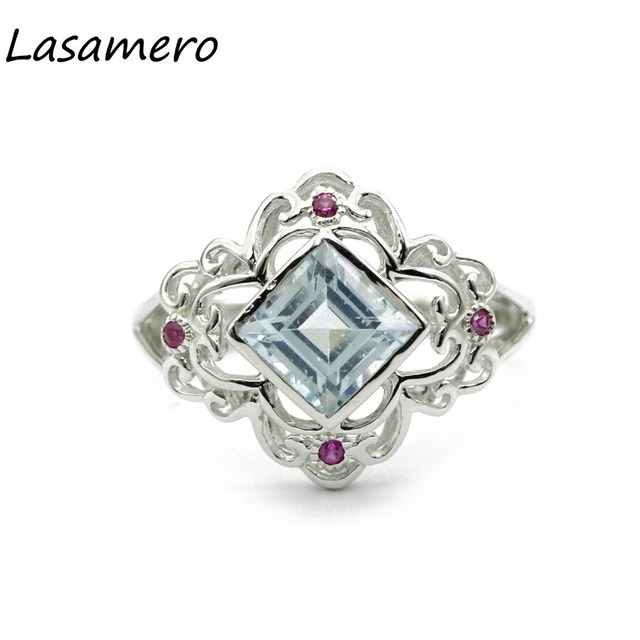 LASAMERO Rings for Women 1.53CT Round Cut Natural Topaz Rings 925 Silver Engagement Wedding Rings