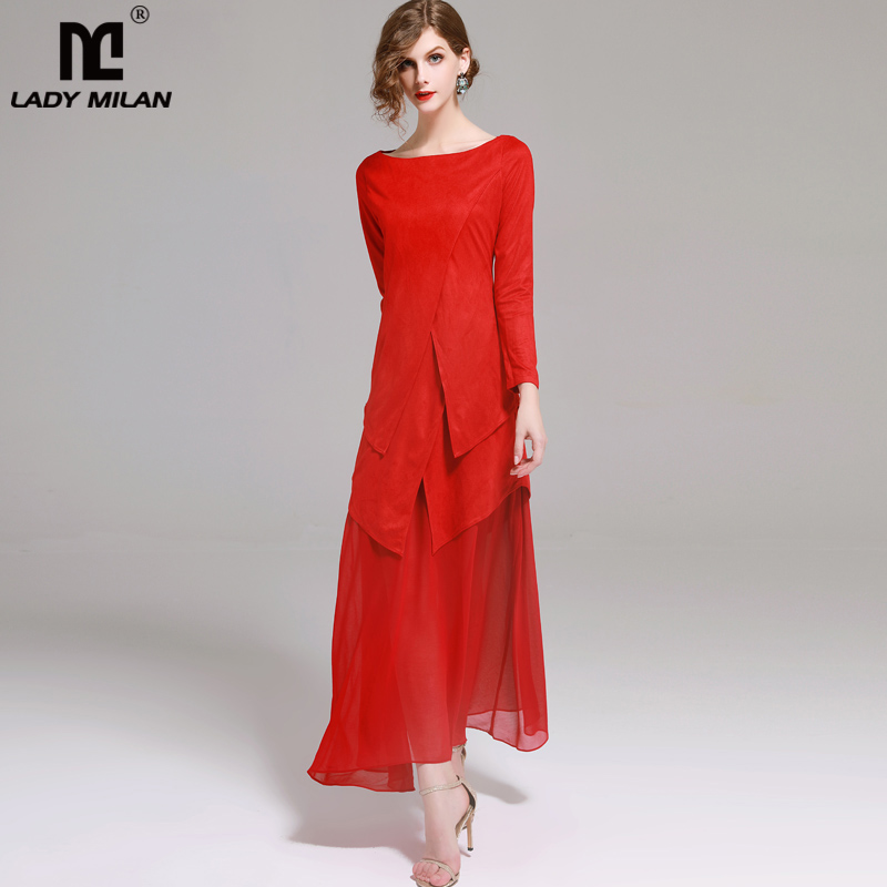 New Arrival Womens Slash Neckline Long Sleeves Suede Patchwork Asymmetric Fashion Red Dresses with Belt