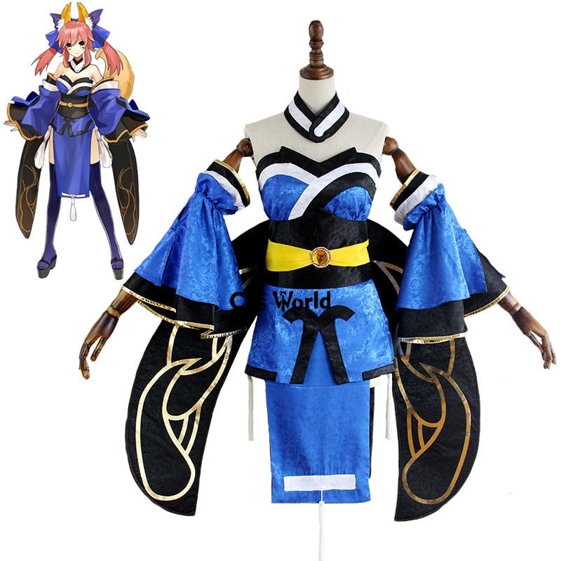 Fate EXTELLA CCC FGO Fate Grand Order Tamamo no Mae Blue Tube Tops Dress Kimono Yukata
