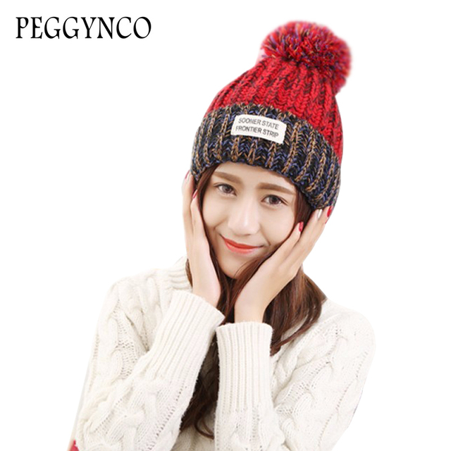 winter women beanies grey female striped knitting hat for new year slouchy  beanie cute oversized skull 2be5f8eedab