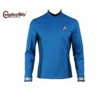 Star Trek Beyond Bones Spock Science Officer Uniform Cosplay Costume Blue Long Sleevs T-Shirt With Free Badge Custom Made