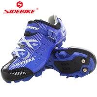 SIDEBIKE Mountain Bike Mens Self locking Cycling Shoes Antiskid Zapatos MTB Ciclismo De Ruta Blue Sneakers Bicycle Equipment|cycling shoes|zapatos mtb|ciclismo de ruta -