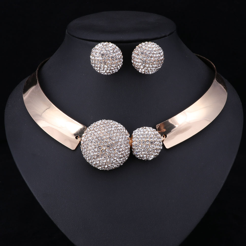 Choker With Round Clear Crystal Center Necklace and Earrings Set
