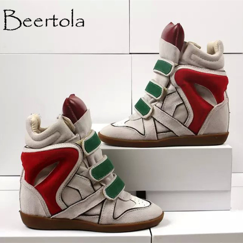 68d5e232e2d8 Beertola Women 8CM Hidden Heels Shoes Genuine Leather Mixed Color Hook and  Loop Casual Sneaker Fashion