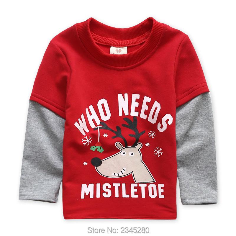 T-Shirts For Boys Girls Deer Animal Print Sweatshirt Clothes Childrens Sweaters Raglan Tops Teen Children Blouse Kids Tees Bobo01