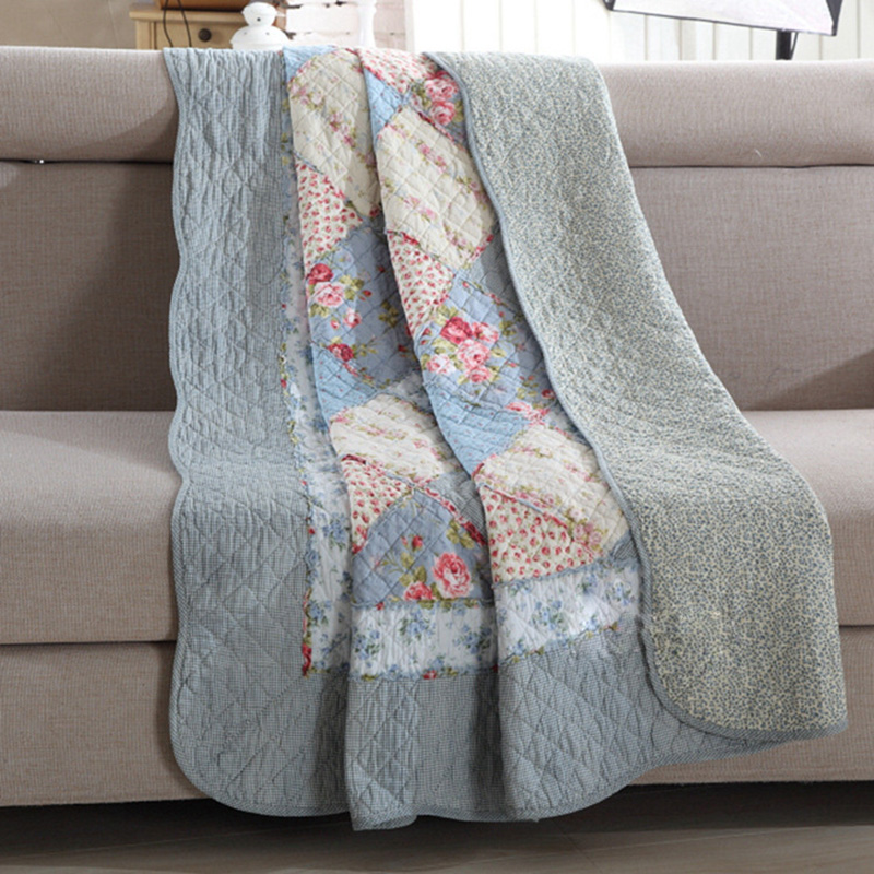 CHAUSUB Summer 100% Cotton Patchwork Quilt 1 piece Twin Size Student Quilts <font><b>Sofa</b></font> Blanket Bed Cover Sheet Kids Bedding Coverlets