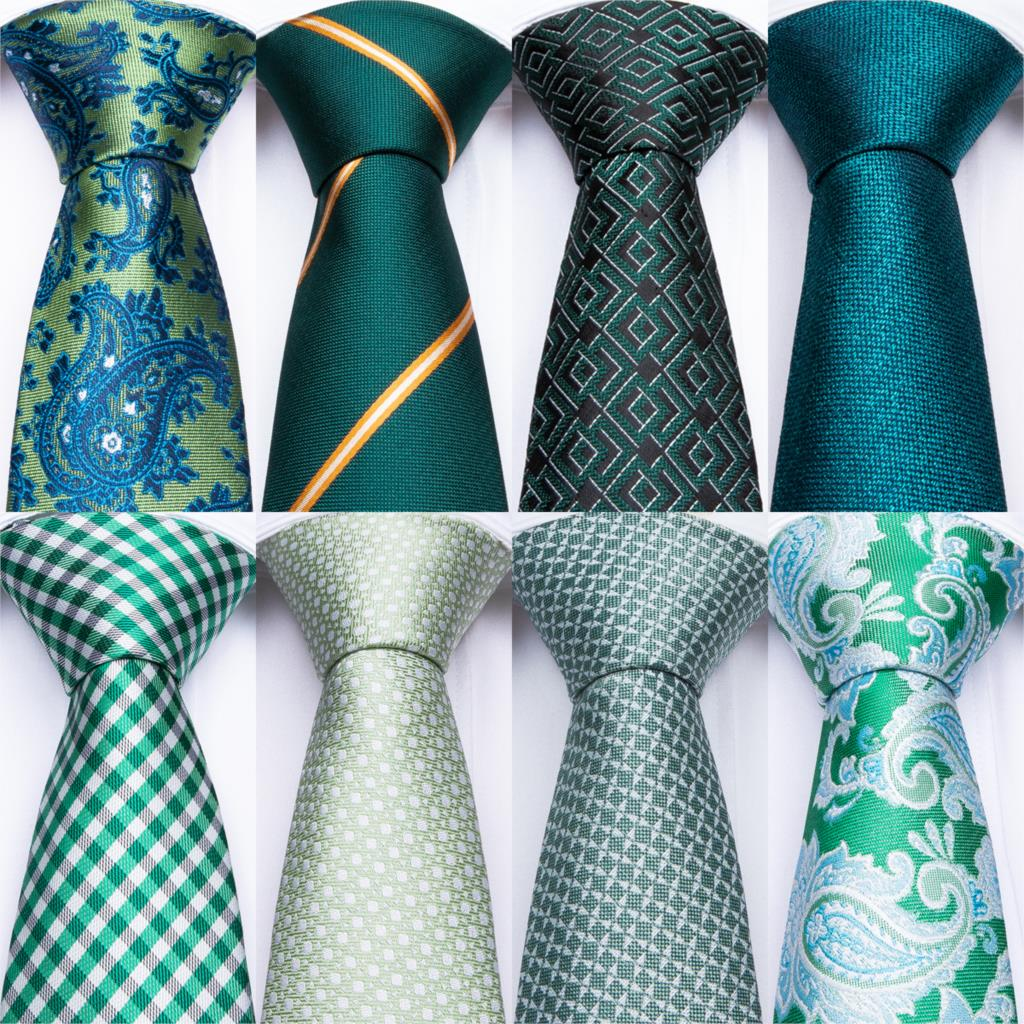 DiBanGu Green Teal Ties For Men Hanky Cufflinks Set 17 Styles Necktie For Male Business Wedding Party Mens Ties New Arrival Tie