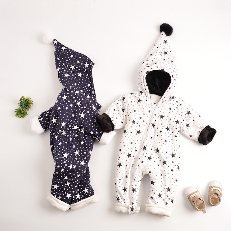 Myudi - 2018 Warm Baby One-Piece Romper Boy Girl's Star Coat Newborn Cotton Padded Thick Bodysuit with Wizard Hat For Toddler