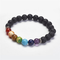 Yoga Chakra Jewelry Natural Lava Stretch Bracelets with crystal and Alloy Beads Round Colorful 2 1/8(55mm)