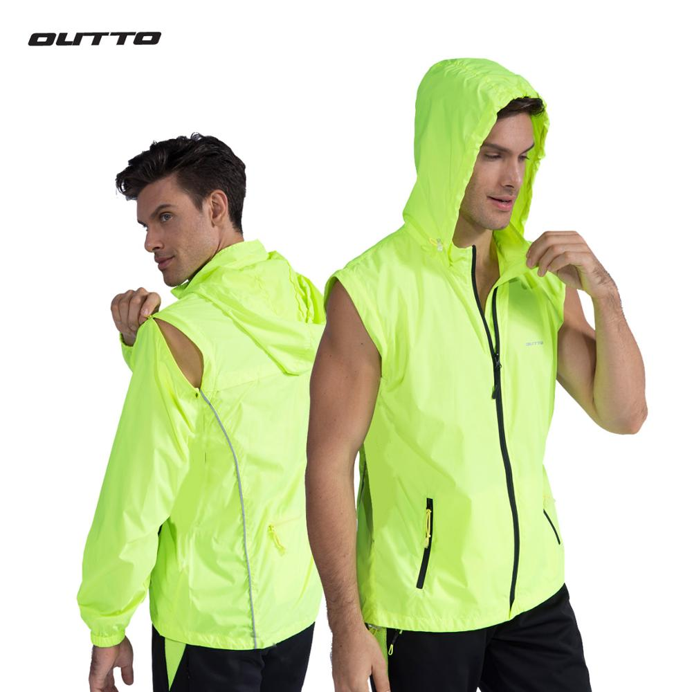 Outto Convertible Windproof Cycling Jacket Reflective Windbreaker Men s Bike Removable Sleeves UV Protection Fishing Clothing