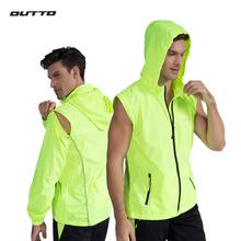 Outto Convertible Windproof Cycling Jacket Reflective Windbreaker Mens Bike Removable Sleeves UV Protection Fishing Clothing