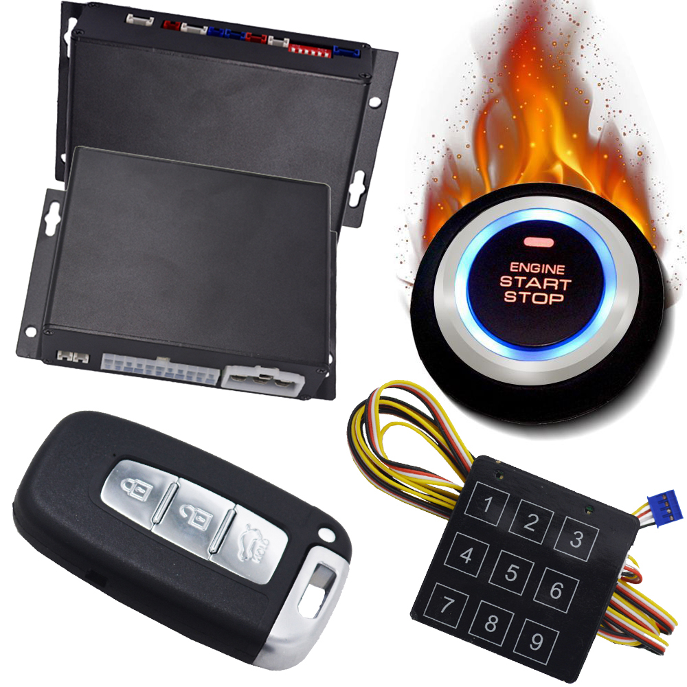 Cardot universal PKE car alarm system Pke keyless entry system push button start anti-hijacking car security alarm rolling code rfid pke car alarm system push button start stop remote engine start passive keyless entry smart password keypad