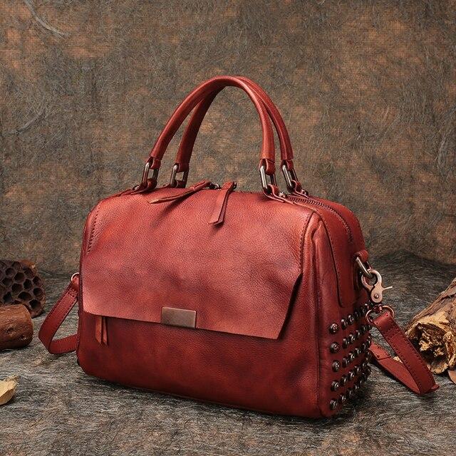 bae0eddcff45 Women s Boston Handbag Handmade Genuine Leather Top-Handle Lady Shoulder Bag  2018 Portable Messenger Bag Female Box Handbag