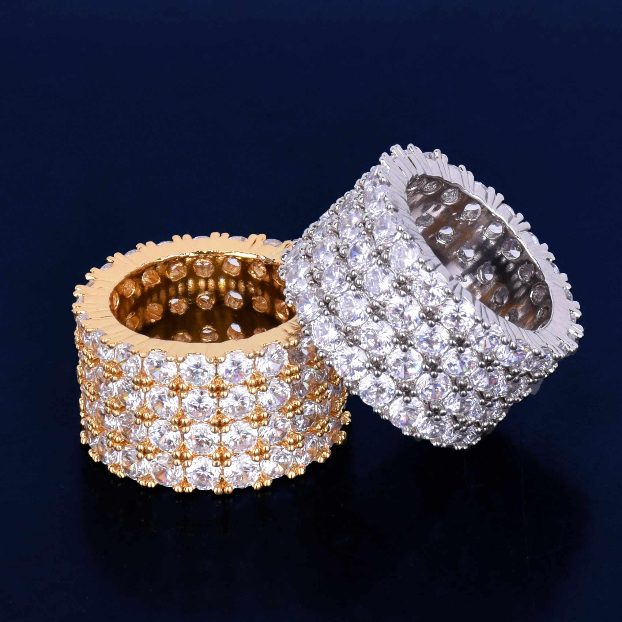 สี่แถว Solitaire แหวนผู้ชายทองแดง Charm Silver Silver Cubic Zircon เย็นแหวนแฟชั่นเครื่องประดับ Hip Hop 1.3 ซม. ความกว้าง