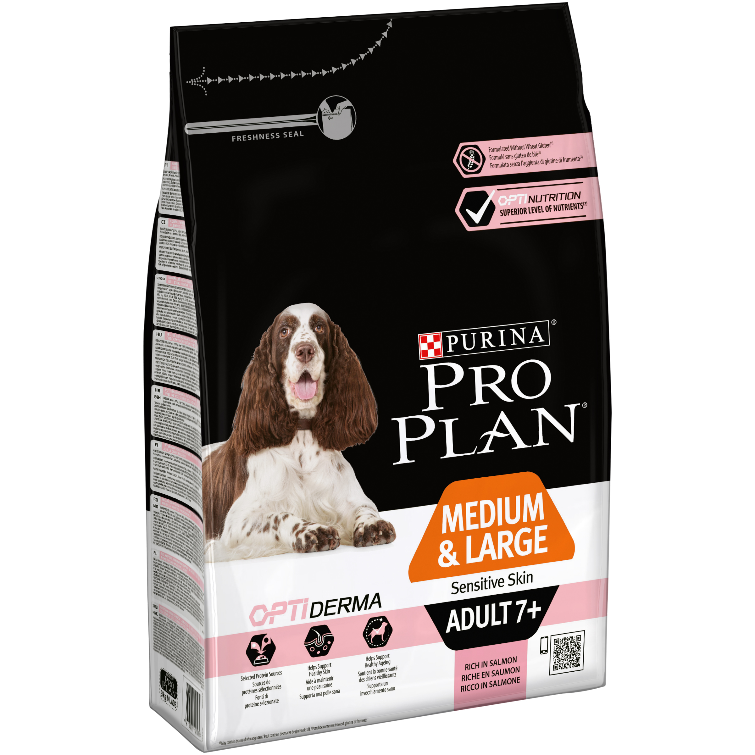 Pro Plan dry food for medium/large adult dogs older than 7 years with sensitive skin, OPTIDERMA complex, salmon and rice, 3 kg сухой корм pro plan optiderma sensitive skin adult 7 medium