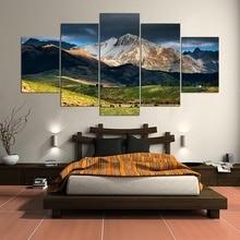 Modern Wall Art Prints Home Wall Canvas, 5 Pieces New Zealand Landscape Modular Paintings Frame