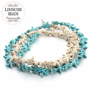 Linsoir Approx.38pcs/Strand 13x13mm Starfish Shape Turquoises Beads Loose Spacer Beads Seed Beads for DIY Jewelry Making(China)