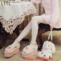 Dulce Estilo Zapatos Creepers Mujeres Bombas Punta Abierta Hebilla de Piel correa de Mary Jane Shoes Plataforma Mujeres Otoño Invierno Zapatos Lolita mujeres