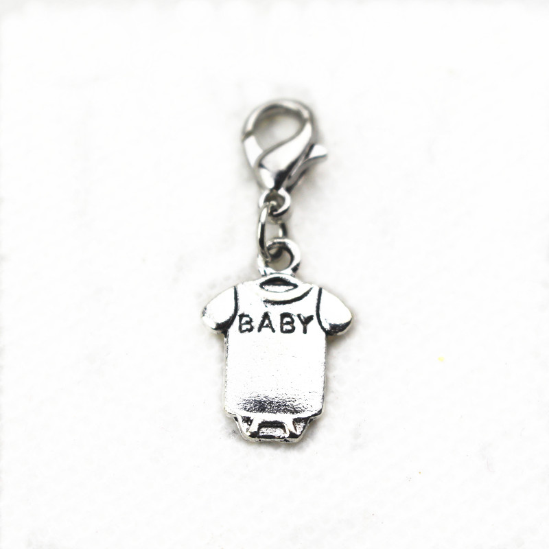 Hot selling BABY T-shirt dangle charms lobstet clasp floating charms for glass momery floating pendant lockets necklace 20pcs