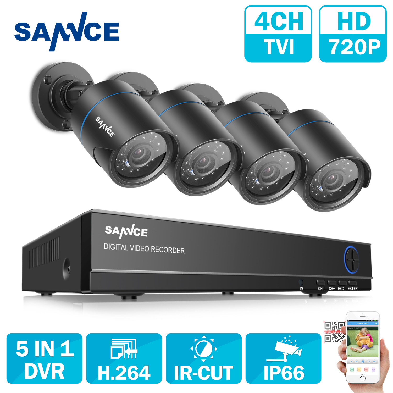 SANNCE HD 4CH 1080N 720 P CCTV Système HDMI AHD DVR 4 PCS 1200TVL IR Night Vision Sécurité Extérieure Caméra Vidéo Surveillance Kit