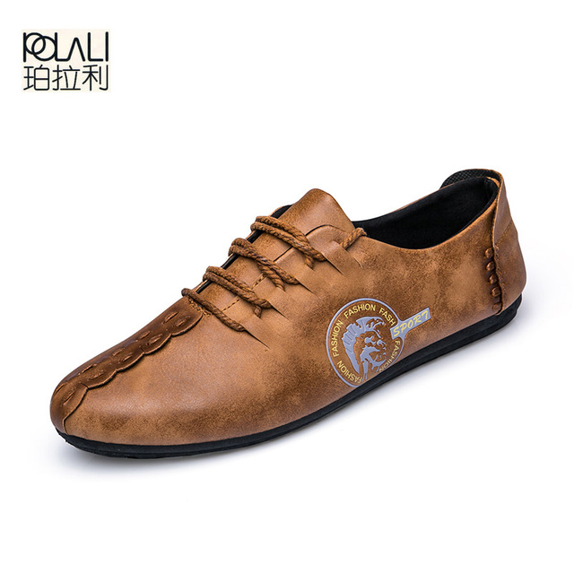 POLALI 2018 New Comfortable Casual Shoes Loafers Men Shoes Quality Split  Leather Shoes Men Flats Hot 6abd88b141ae