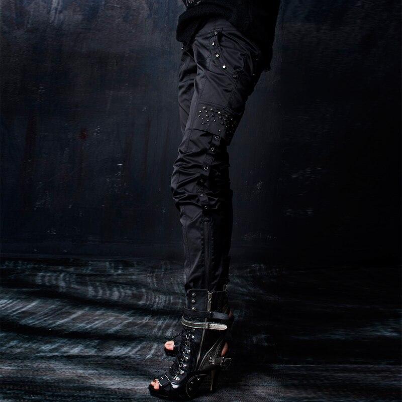 Très 100 Femmes Rave Black Punk Décoration Noir Cool Liquidation K Pantalon De Rivet 0RwAq7A