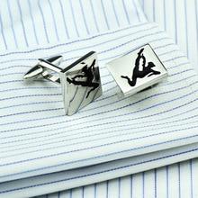 Bridegroom Wedding Party Business Men French Shirts Cuff Links Black Gymnastics Enamels Cufflinks Silvery Cufflink With Gift Bag
