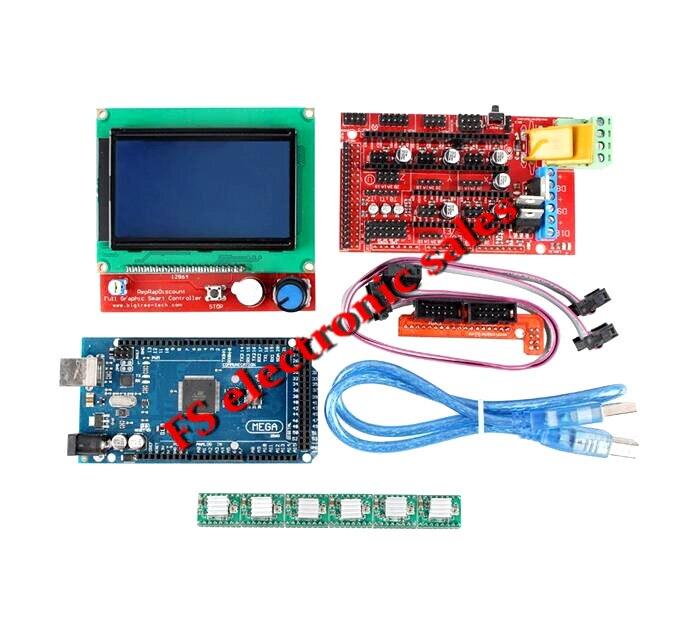 ФОТО 1pcs Mega 2560 R3 + 1pcs RAMPS 1.4 Controller + 5pcs A4988 Stepper Driver Module +1pcs 12864 controller for 3D Printer kit