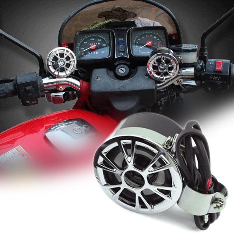 2Pcs DC 12V Motorcycle Handlebar <font><b>Mount</b></font> Round Speaker Waterproof For Honda Bike Audio System FM Radio Stereo Amplifier Speaker