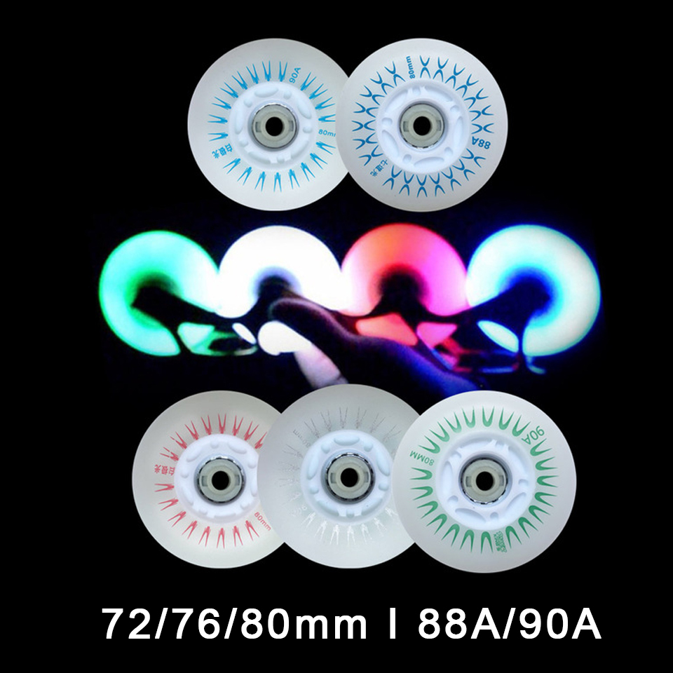 80 76 72 70 68 64 Mm Rollers For Inline Skates 90A LED Flash Wheels With Magnetic Core For Roller Skates Rollerblade Wheel LZ50