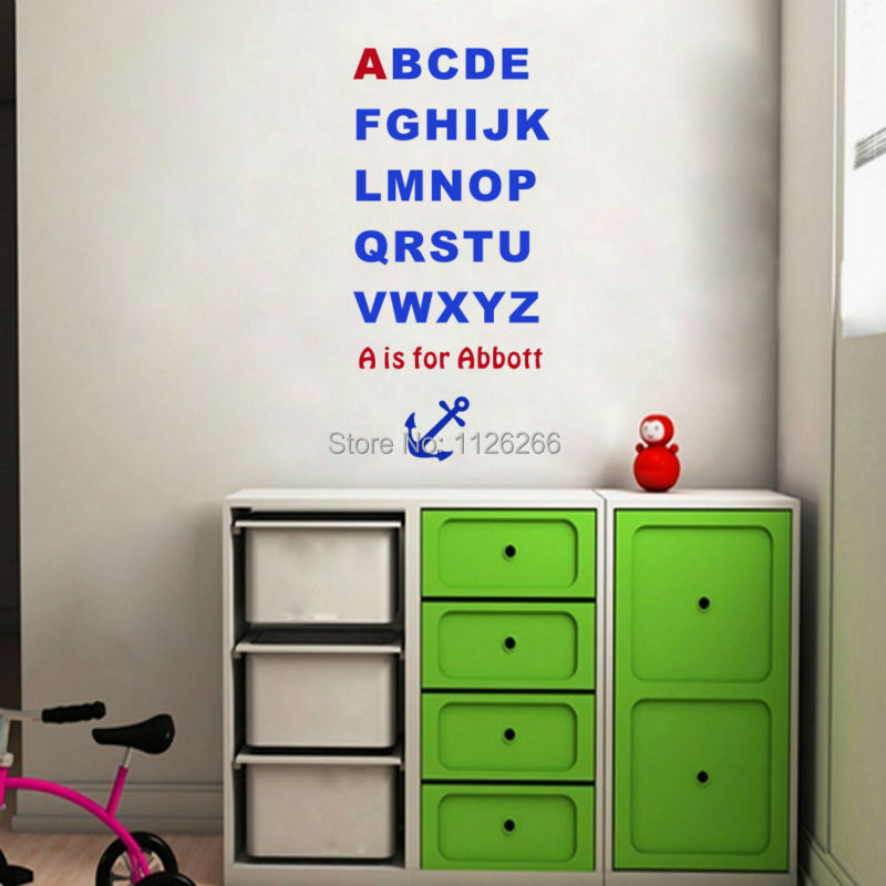 Personalized kids name alphabet wall stickers letter chart for Wall letters kids room