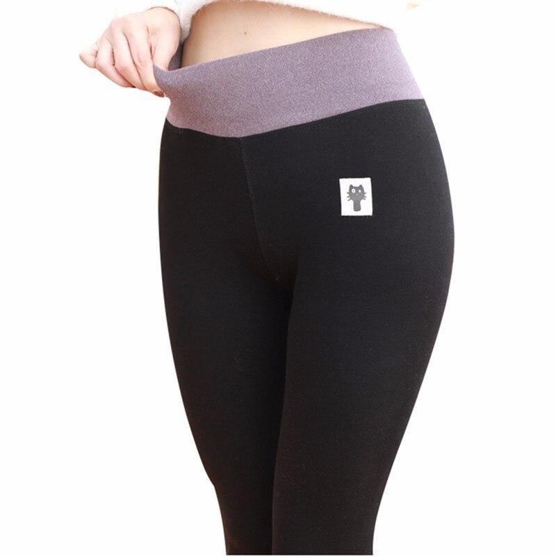 [Rylanguage] M-3XL 2018 Winter New Fashion Sexy Elastic 8CM High Waist Cat Pattern Patchwork Warm Leggings Women 4 Color Y736