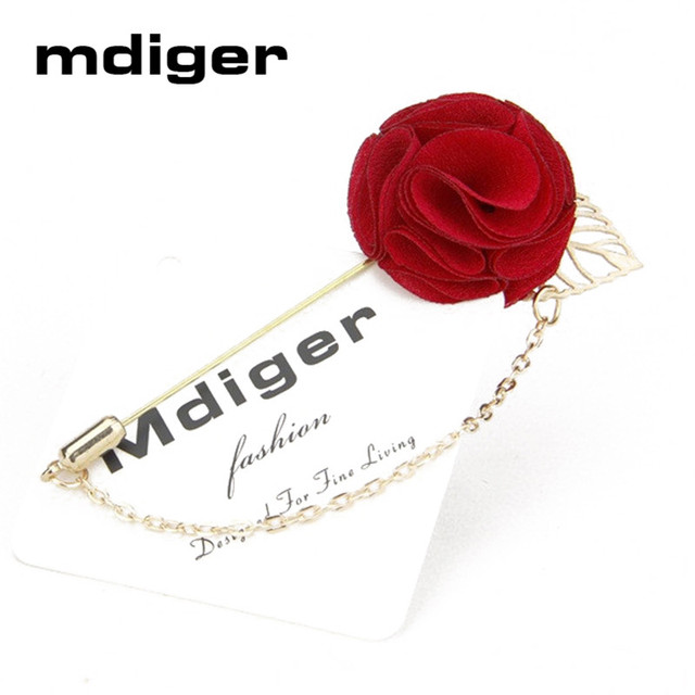 8a413ff404f Mdiger Business Suits Handmade Flower Brooch Insert Long Chain Pin Fashion  Mens Flower Metal Brooches Lapel Pins For Wedding