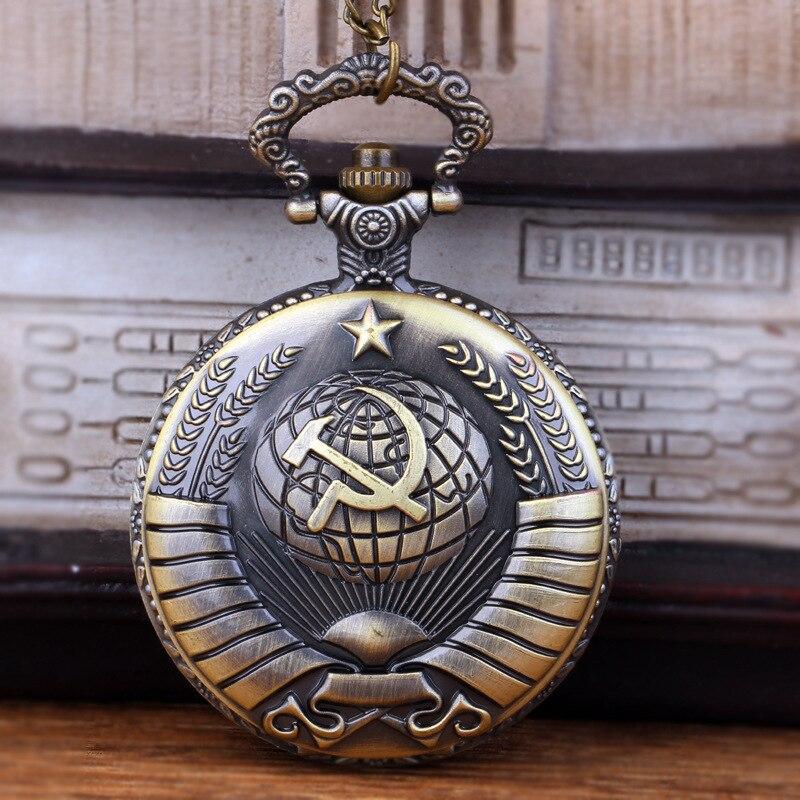 Emblemas Urss Foice do Martelo do vintage Relógio de Bolso Colar Bronze Pingente camisola Cadeia do Relógio Relógio de Moda Dos Homens Das Mulheres Para O Presente de Natal