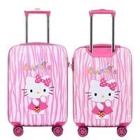 Girls Hello Kitty Trolley Case Children's Cartoon Travel Suitcase 20 Universal Wheels Trolley Luggage