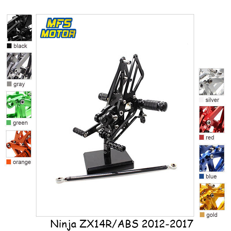 For Kawasaki Ninja ZX14R ABS 2012-2017 CNC Adjustable Rearset Motorcycle Accessories Foot Rest Foot Pegs ZX-14R FootrestsFor Kawasaki Ninja ZX14R ABS 2012-2017 CNC Adjustable Rearset Motorcycle Accessories Foot Rest Foot Pegs ZX-14R Footrests