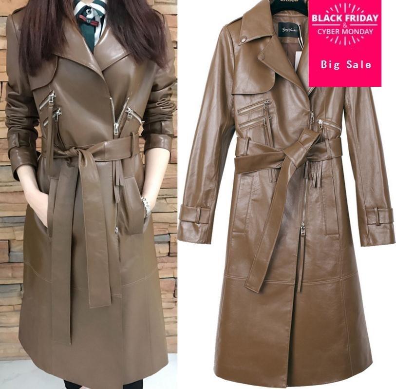 2019 spring fashion brand Pu   leather   zipper X-longer jacket female long sleeve great quality   leather   jacket wj1927 with belt