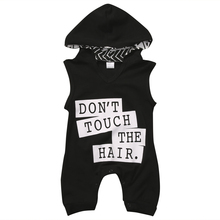 2019 New Baby Boy Cotton Hooded Romper Summer Letter Print Jumpsuit Newborn Fashion Black Sleeveless Clothing black floral print drawstring sleeveless romper