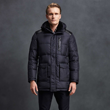 2017 Men Down Jacket 90% White Duck Down High Quality Fashion Coat With Shearling Collar Mid-Long Parka Coat Free Shipping