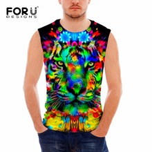 FORUDESIGNS Fitness Tank Top Men Bodybuilding Sleeveless Vest Brand Clothes Cool 3D Tiger Fox Animal Mens Undershirts Plus Size