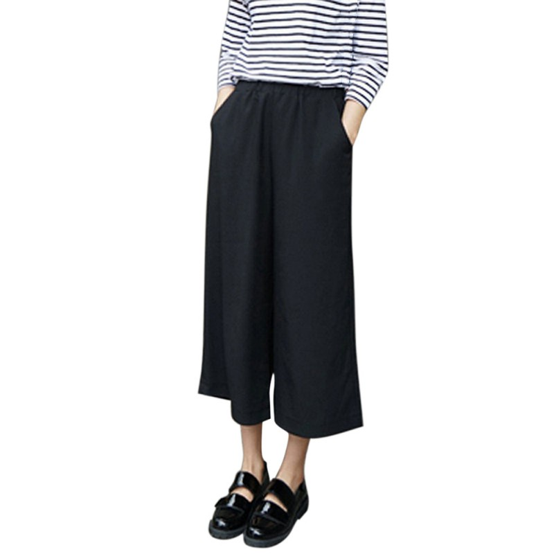 Women Solid   Wide     Leg     Pants   Summer Autumn Loose Ankle-Length   Pants   2017 Fashion Women Clothes Hot
