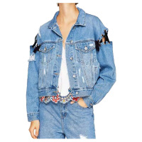 TFGS Women S New Fashion Denim Jackets Unique Design Lace Up Washed Jacket Casual Bandage Holes