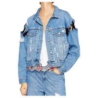 TFGS Women S New Fashion Denim Jackets Unique Design Lace Up Washed Jacket Casual Bandage Holes